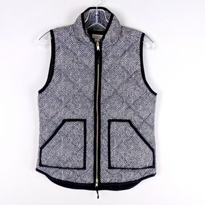 J. Crew | Black Print Puffer Vest